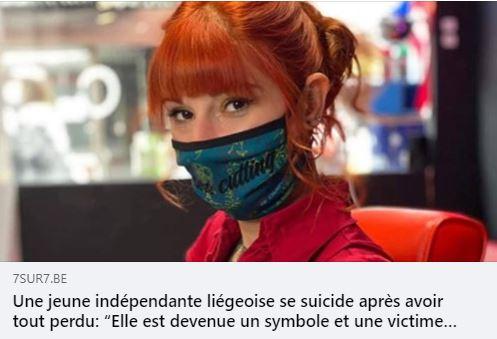 Une jeune indépendante liégeoise se suicide après avoir tout perdu à cause du coronavirus