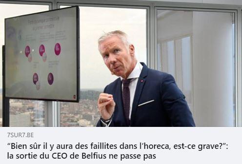 Marc Raisière, CEO de la banque Belfius, s'est fendu de commentaires pour le moins écœurants voire infâmes