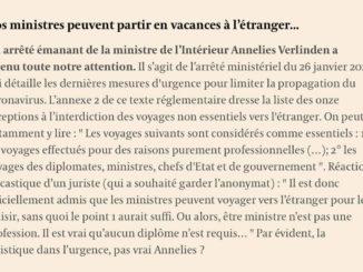 Régime d'exception pour les Ministres et Diplomates? Seraient-ils autorisés à partir en vacances? (Source l'Echo)