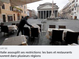 L'Italie assouplit ses restrictions: les bars et restaurants rouvrent dans plusieurs régions